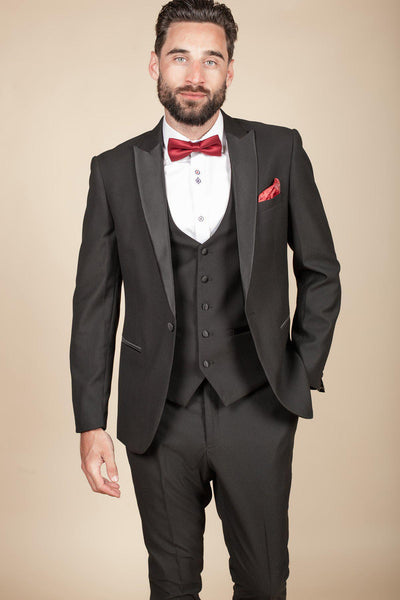 DALTON - Black Tux Lapel Diamond Three Piece Suit