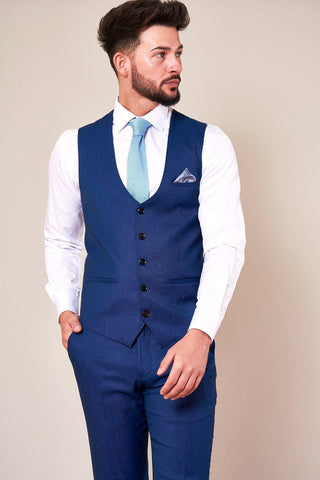 DANNY - Royal Blue Single Breasted Waistcoat