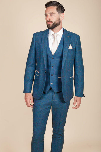 DION - Blue Tweed Check Three Piece Suit