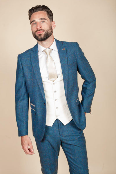 DION - Blue Tweed Check Three Piece Suit With Kelvin Cream Waistcoat