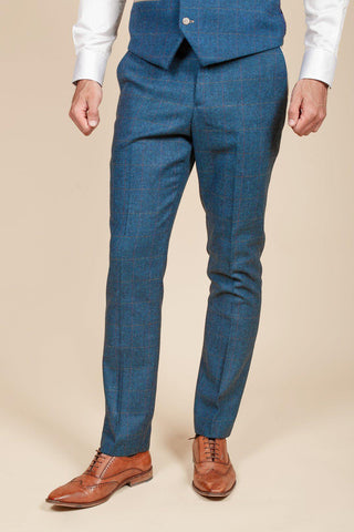 DION - Blue Tweed Check Trousers