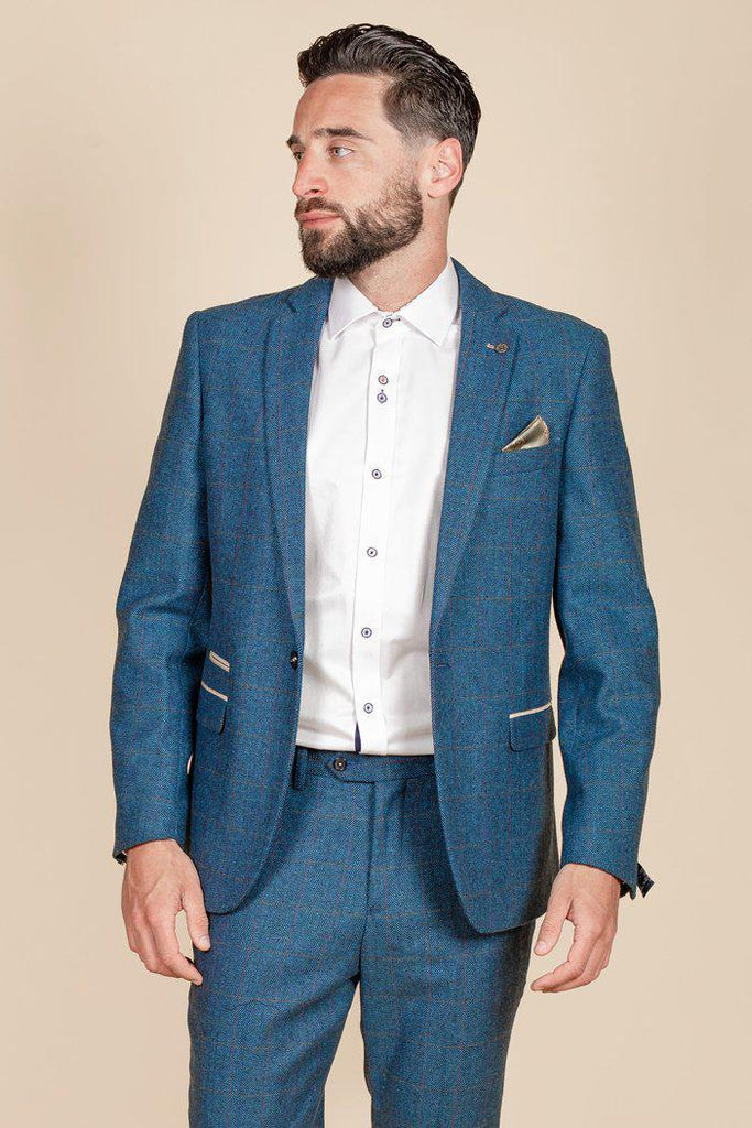 Dion Blue Tweed Check Two Piece Suit By Award Winning Menswear Marc Darcy