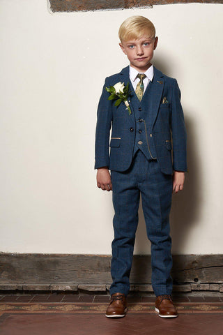 DION - Childrens Blue Tweed Check Three Piece Suit