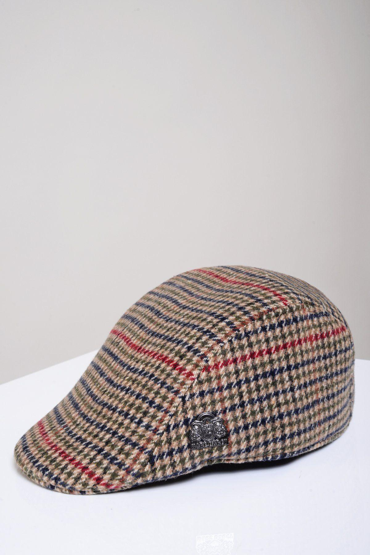 Mens Marc Darcy Oak Tweed Check Print Flat Cap available in S//M or L//XL