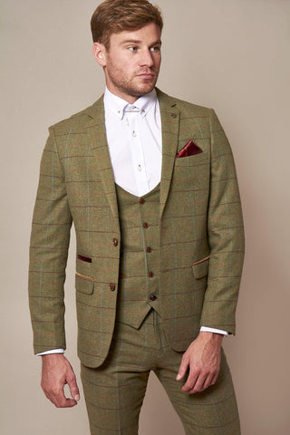 ELLIS - Moss Green Check Tweed Blazer