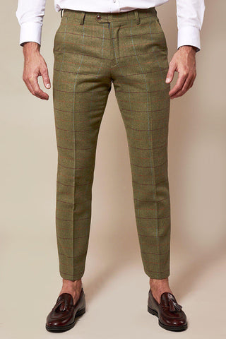 ELLIS - Moss Green Check Tweed Trousers