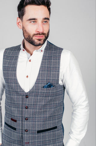 ENZO - Blue Grey Check Tweed Single Breasted Waistcoat