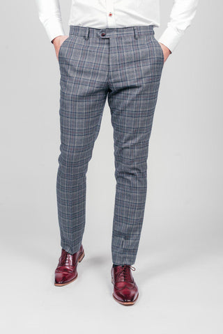 ENZO - Blue Grey Check Tweed Trousers