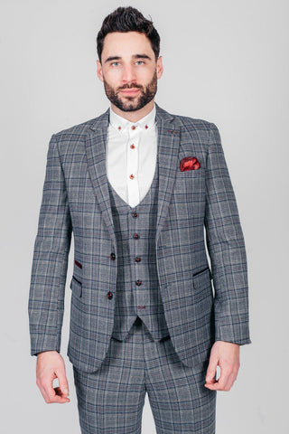 ENZO - Blue Grey Tweed Check Blazer