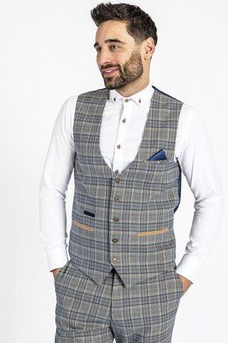 ENZO - Sky Stone Check Tweed Single Breasted Waistcoat