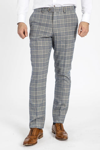 ENZO - Sky Stone Check Tweed Trousers