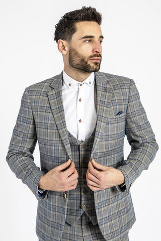 ENZO - Sky Stone Tweed Check Blazer