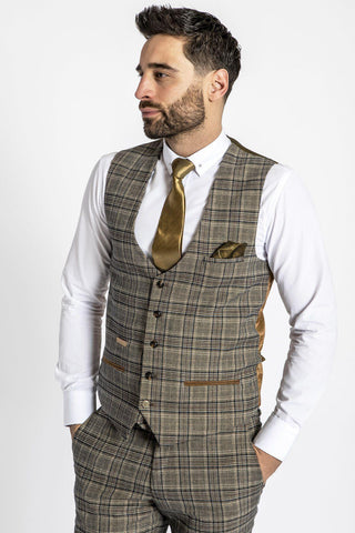 ENZO - Tan Check Tweed Single Breasted Waistcoat