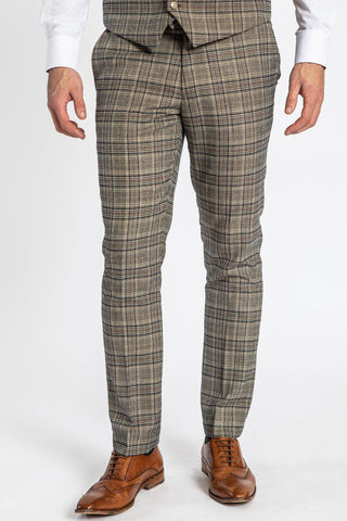 ENZO - Tan Check Tweed Trousers
