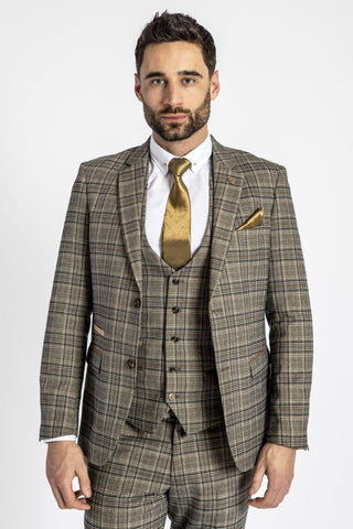 ENZO - Tan Tweed Check Blazer