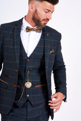 ETON - Navy Blue Tweed Check Blazer