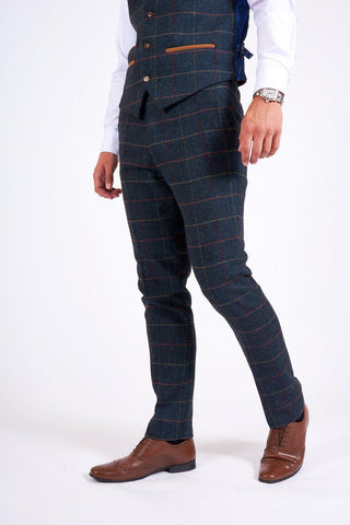 ETON - Navy Blue Tweed Check Trousers