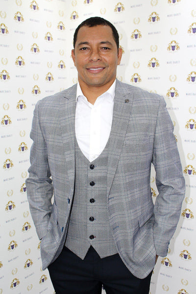 Former Arsenal Footballer Gilberto Silva in Jerry Grey Check Blazer & Waistcoat