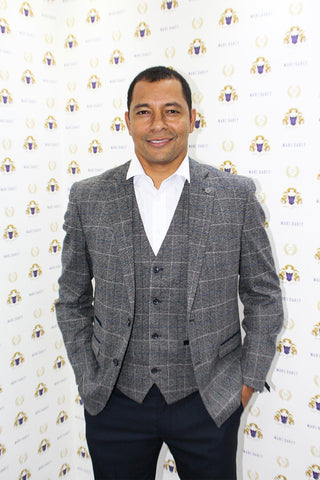 Former Arsenal Footballer Gilberto Silva in Scott Grey Tweed Check Blazer