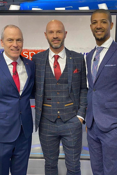 Former Leeds Utd Footballer Danny Mills in Eton Navy Tweed Check Suit