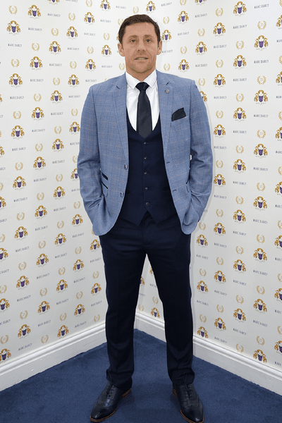Former Leeds Utd Footballer Michael Brown in Harry Blue Tweed Check Blazer