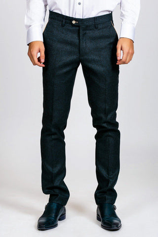 GLEN - Navy Tweed Trousers