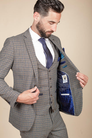 HARDWICK - Navy Tan Tweed Check Blazer