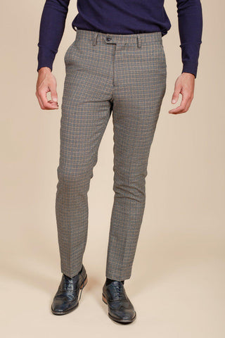 HARDWICK - Navy Tan Tweed Check Trousers