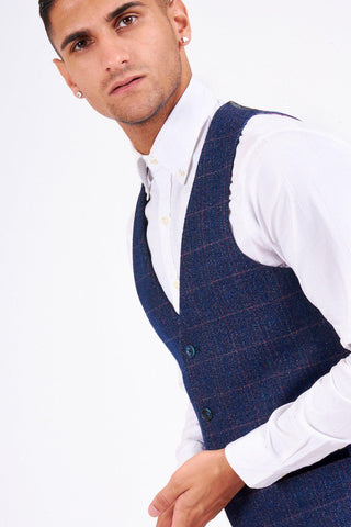 HARRY - Indigo Single Breasted Tweed Check Waistcoat