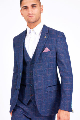 HARRY - Indigo Tweed Check Blazer