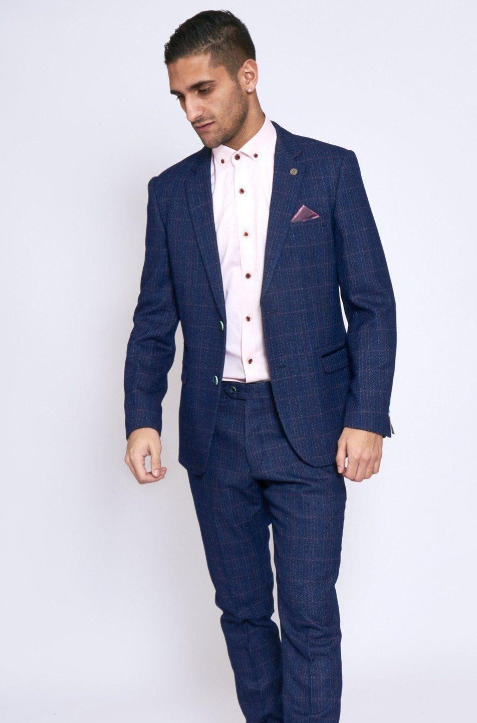 Harry Indigo Tweed Check Two Piece Suit By Award Winning Menswear Marc Darcy