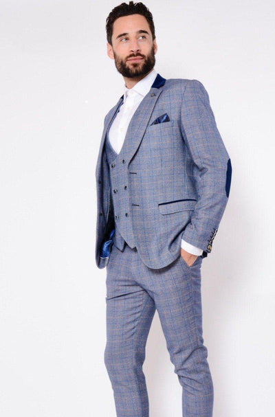 HILTON - Blue Tweed Suit with Double Breasted Waistcoat