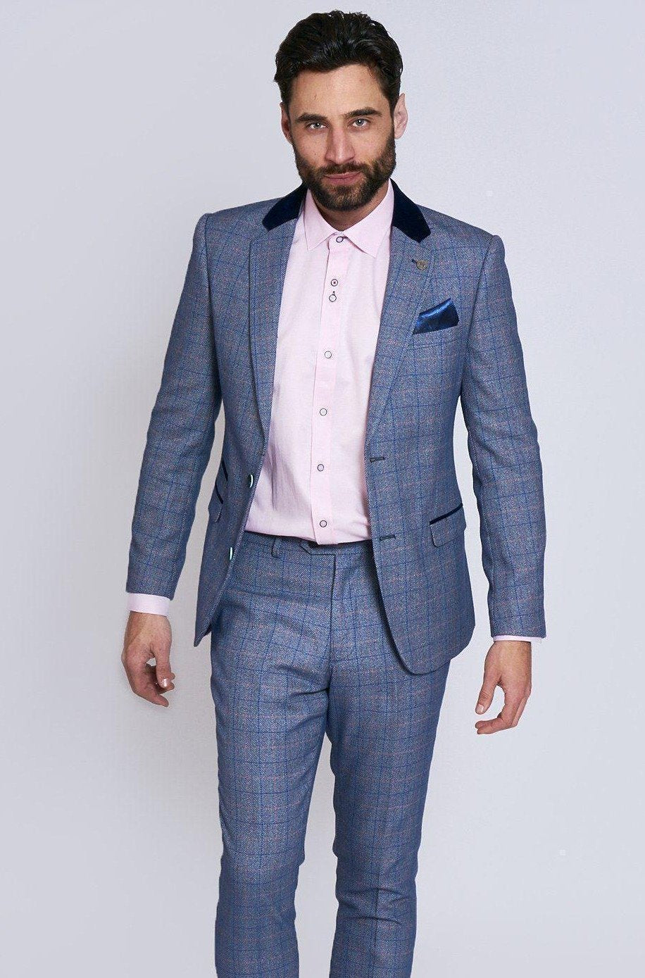 Hilton Blue Tweed Two Piece Suit By Award Winning Menswear Designer Marc Darcy