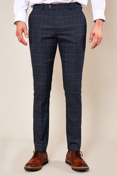 JENSON - Skinny Fit Marine Navy Check Trousers