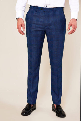 JERRY - Skinny Fit Blue Check Trousers