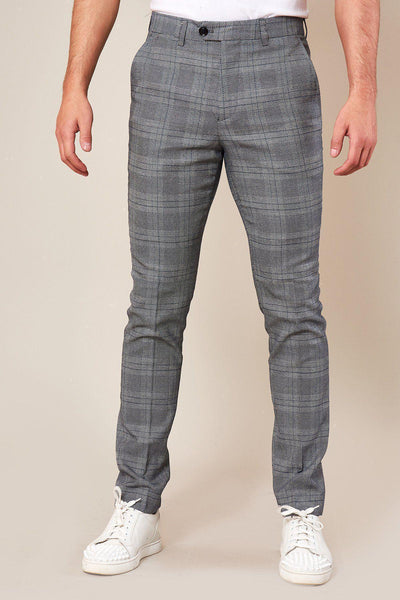 JERRY - Skinny Fit Grey Check Trousers