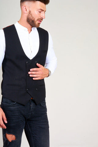 KELLY - Black Double Breasted Waistcoat