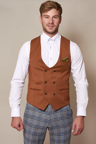 KELLY - Dark Tan Double Breasted Waistcoat
