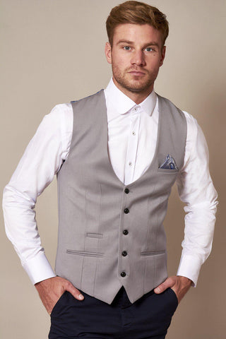 KELLY - Silver Grey Single Breasted Waistcoat