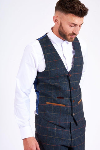 LEE ETON - Single Breasted Navy Blue Tweed Check Waistcoat
