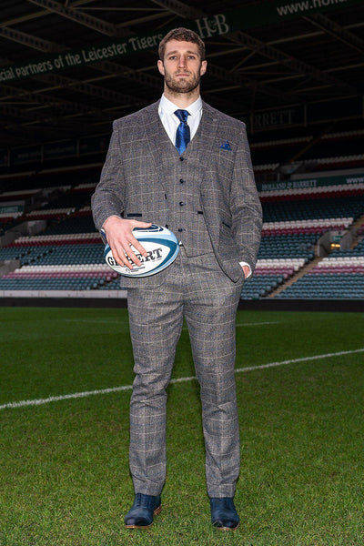Leicester Tigers | SCOTT Grey Tweed Suit As Worn By Jonah Holmes