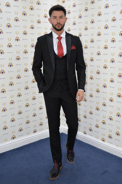 Love Island Star Dean Overson In Dalton Black Tux Lapel Suit