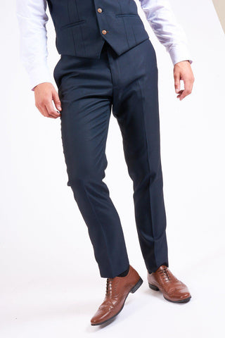 MAX - Navy Blue Trousers with Contrast Buttons