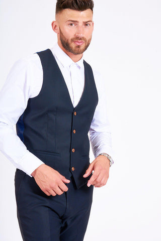 MAX - Navy Single Breasted Waistcoat
