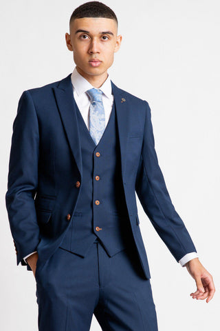 MAX - Royal Blue Blazer with Contrast Buttons