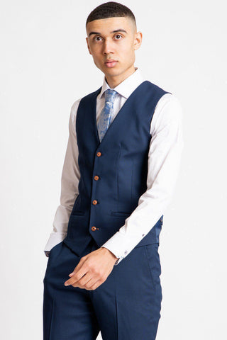 MAX - Royal Blue Single Breasted Waistcoat