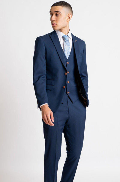 MAX - Royal Blue Three Piece Suit With Contrast Buttons