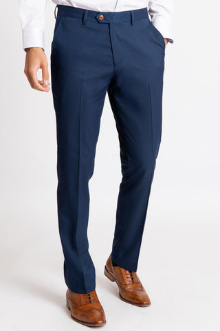 MAX - Royal Blue Trousers with Contrast Buttons
