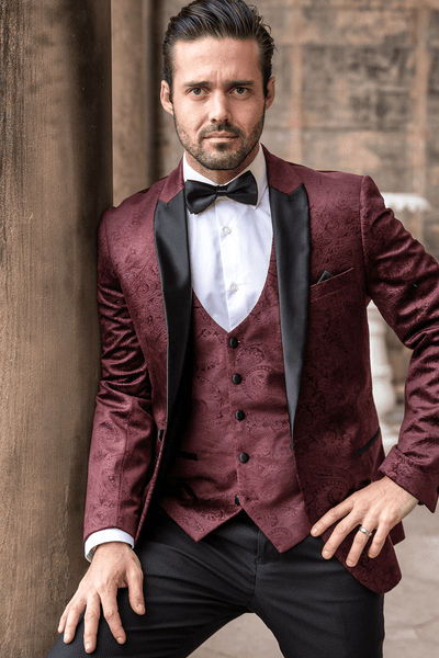 MD x Spencer & Hugo | SIMON - Velvet Wine Tux Lapel Jacquard Blazer
