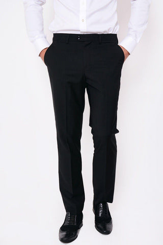 RAMBO - Black Flat Fronted Trousers